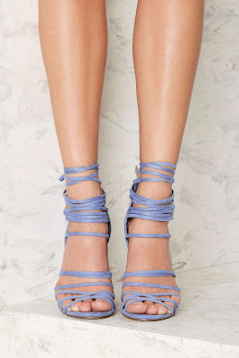 Nasty Gal Blue lace up high heeled sandals