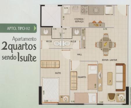 Dois quartos, sala de estar, jantar, cozinha e área de serviço.