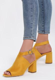 Sandale cu toc gros din piele co intoarsa