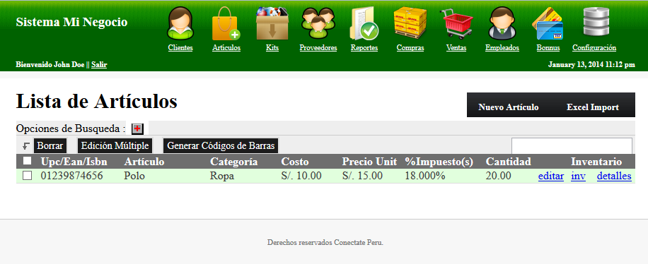 Point of Sale sistema de ventas Open Source