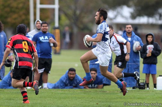 With ball: Number 14, Hemi Waerea, MAC - Premier rugby, MAC vs Tamatea, at Ron Giorgi Park, Flaxmere, Hastings. photograph