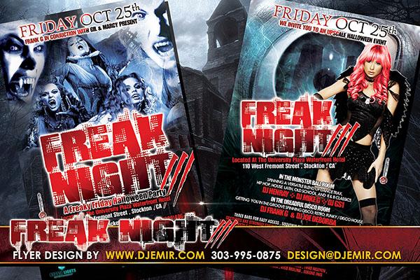 Freak Night 3 Annual Halloween Ball Flyer Design