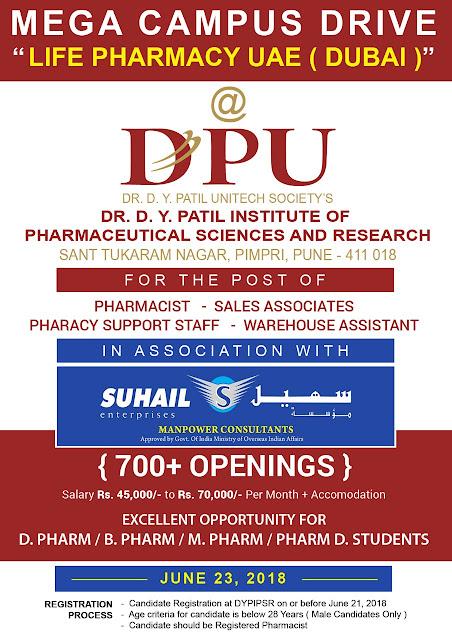 Dr. D. Y. Patil Institute of Pharmaceutical science and research, Sant Tukaram Nagar, Pimpri, Pune.