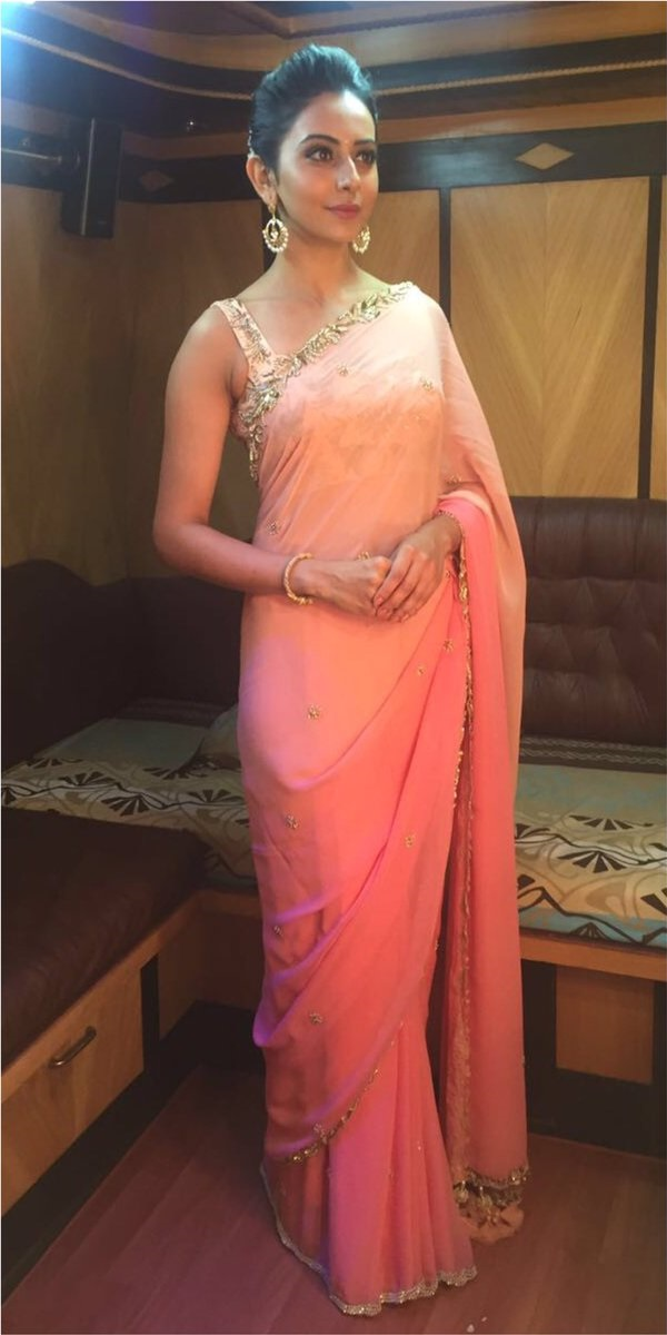 Rakul Preet Singh Stills In Pink Saree At Director Krish Marriage