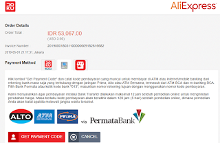 Metode pembayaran Aliexpress bank transfer