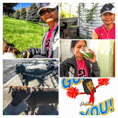spring outside, green smoothie, walking with dogs