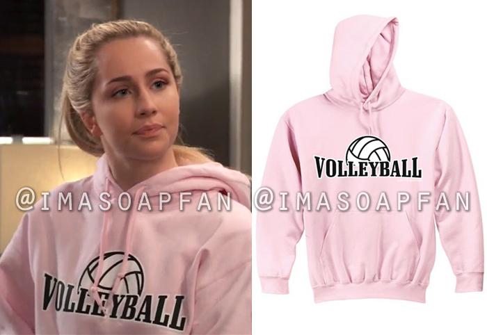 Josslyn Jacks, Eden McCoy, Pink Volleyball Hooded Sweatshirt, General Hospital, GH