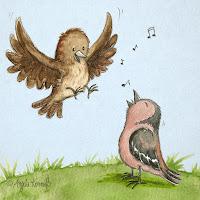 Kinderbuchillustration, Vögel, niedlich, Bilderbuch, Tiere, Aquarell, Kinderlied