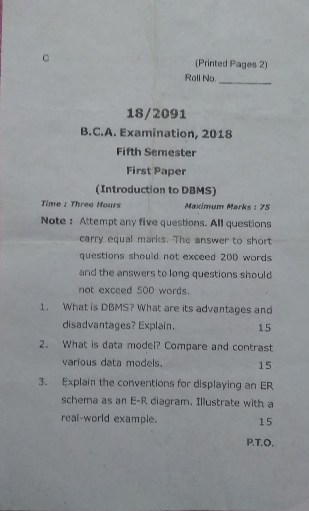 MGKVP BCA QUESTION PAPERS