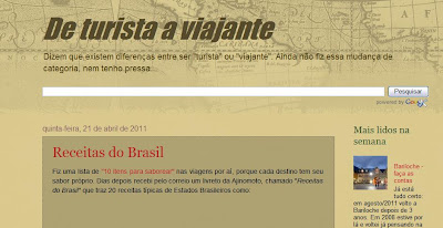 Primeiro template do blog De Turista a Viajante