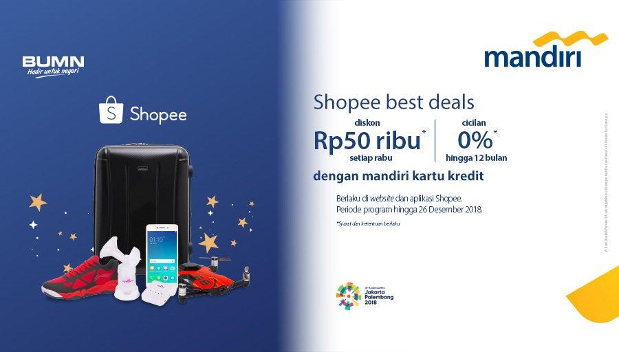 Bank Mandiri - Promo Shopee Diskon 50 Ribu Setiap Rabu + Cicilan 0% s.d 12 bulan