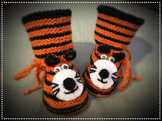 Crochet & knit tiger slippers - step by step