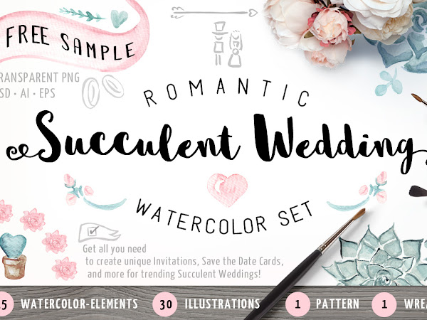 Download Succulent Wedding Watercolor Set Free