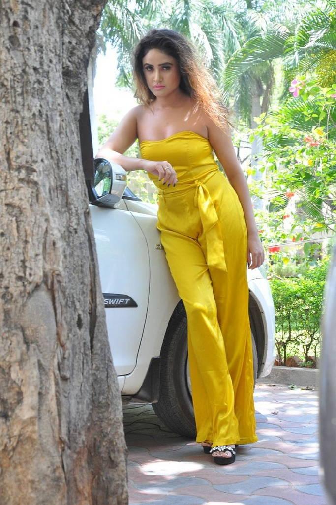 Indian Gorgeous Model Sony Charishta Hot Photo Shoot In Yellow Dress