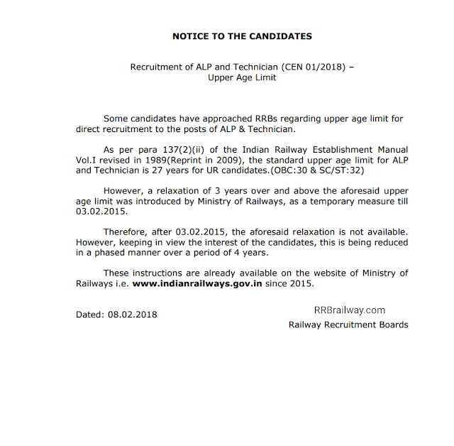 RRB Railway ALP Technician CEN 01/2018 Notice to the Candidates regarding Maximum Age Limit