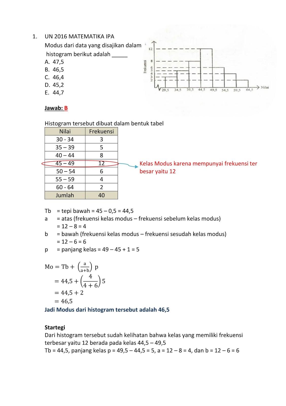 Contoh Soal Sbmptn Matematika Statistika Kumpulan Soal Pelajaran 10