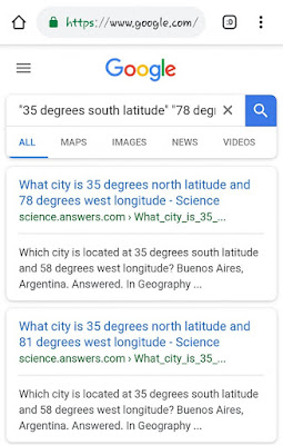 "search on ""35 degrees south latitude"" returning on 35 degrees north latitude hits"