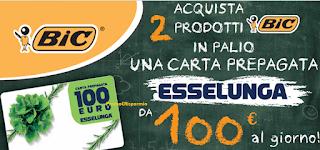 Logo Con BIC puoi vincere 100 carte prepagate Esselunga da 100 euro