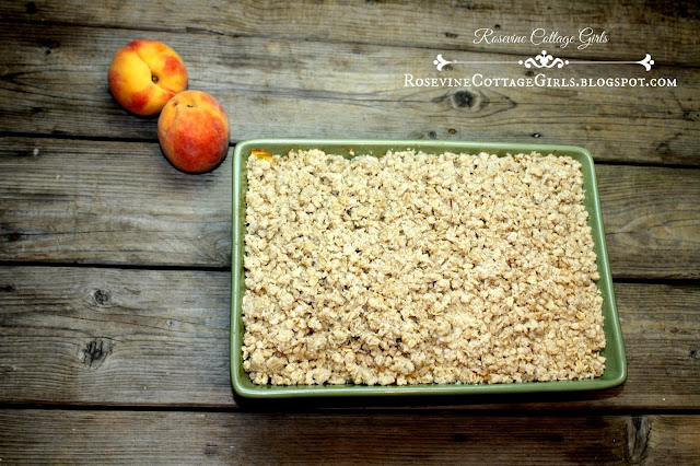 How to make a peach crisp by Rosevine Cottage Girls