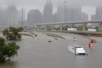 Interstate 45 near downtown Houston is submerged Sunday after a downpour from Harvey. (Credit: Richard Carson / Reuters) Click to Enlarge.