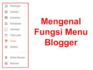 Penggertian menu pilihan pada blog