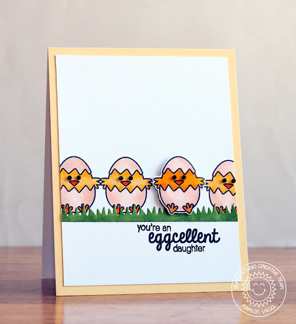 Sunny Studio:  A Good Egg Eggcellent Daughter Chick card by Marion Vagg.