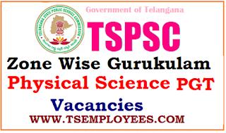 TSPSC Zone Wise Gurukulam Physical Science Subject PGT Vacancies