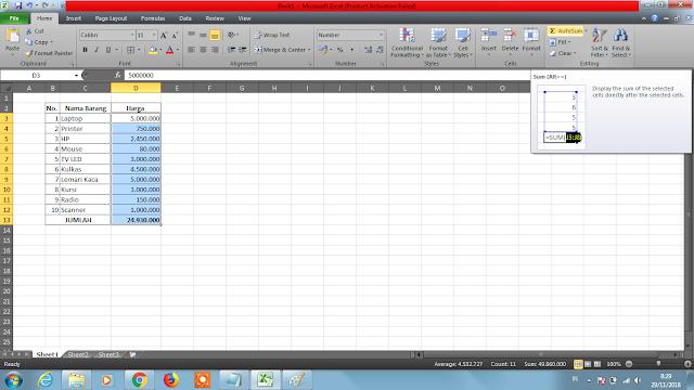 """alt=""""Cara Penambahan Otomatis di Excel"""""""