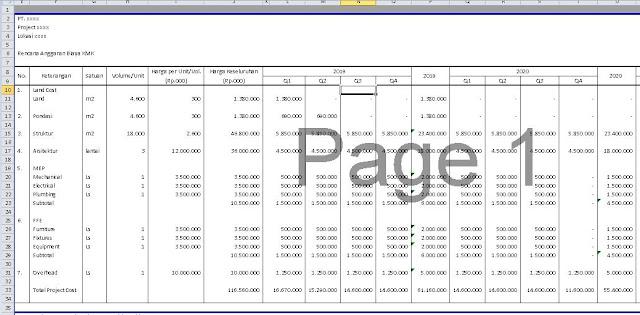 Unduh Template Excel Proyeksi Cashflow Proyek Apartemen Project Financing