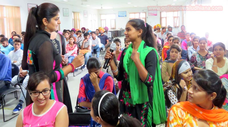 Student answering question during Orientation Programme for new students at LCET