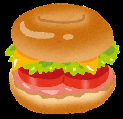 ベーグルのサンドイッチのイラスト