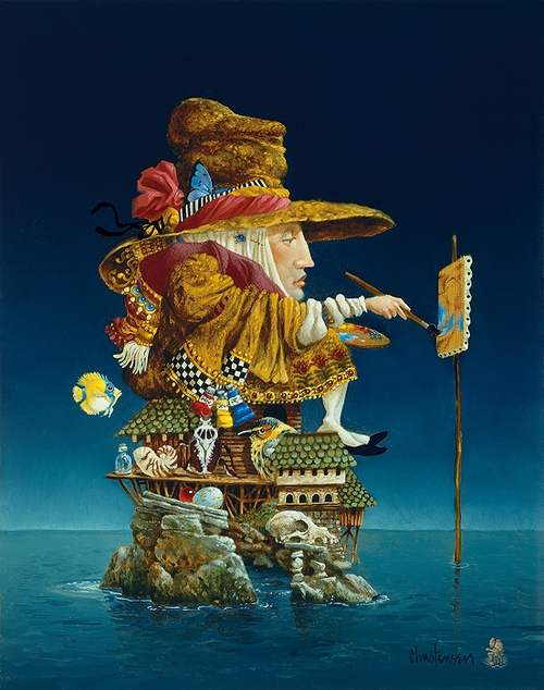 01-Artist-s-Island-James-C-Christensen-Original-Paintings-Steeped-in-Surrealism-www-designstack-co