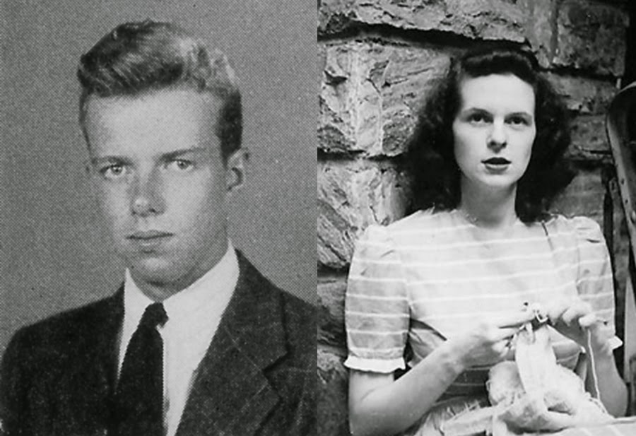 Side-by-side black and white photographs, one of a young man on a blank background and the other of a young woman leaning against a wall.
