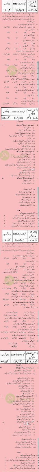 Past Papers of 9th Class Lahore Board 2016 Home Economics