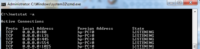 Find Open Ports in command prompt