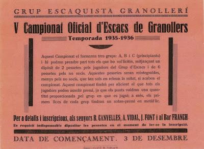 Convocatoria del V Torneo Social del Club d'Escacs Granollers