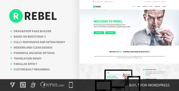 Free Download Rebel V1.2.0 WordPress Business Bootstrap Theme