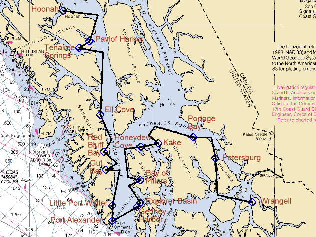 Huna Alaska Map.Sailing Rover Hoonah To Petersburg And Wrangell Via Port Alexander