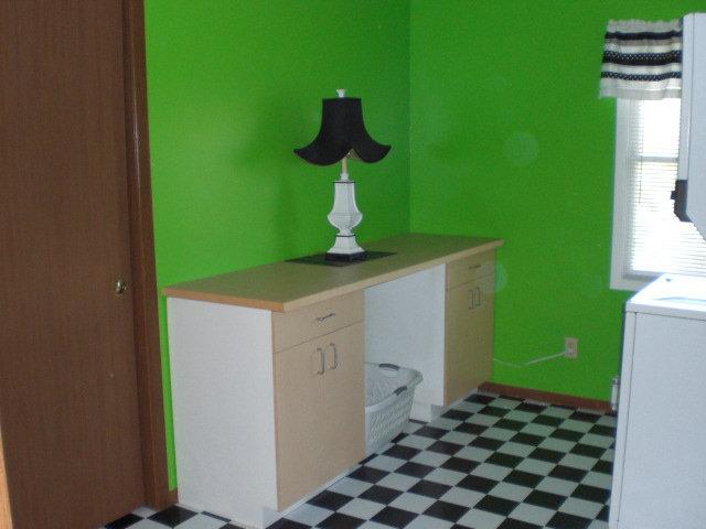 Before Lime Green Walls Dark Wood Doors Trim Black White Flooring