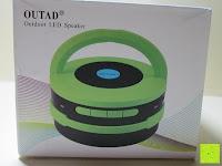 Verpackung Bild: OUTAD 2-in-1 Outdoor Wireless Bluetooth Lautsprecher & LED Lampe mit eingebautem Mikrofon, einstellbarem Licht und Broadcom 3.0