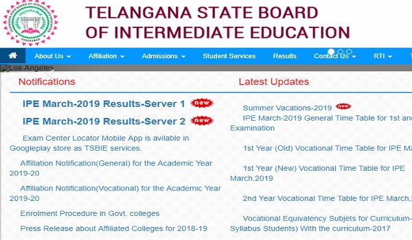 ENNADU TS Inter Results 2019 1st Year 2nd Year Download results