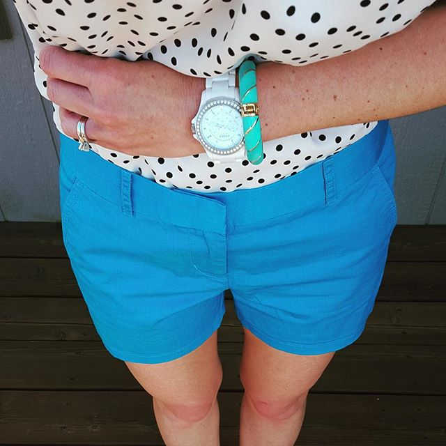 J Crew Shorts on sale for under $10, black and white polka dot top, white fossil watch