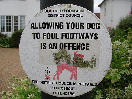 Sign says Allowing your dog to foul footways is an offence