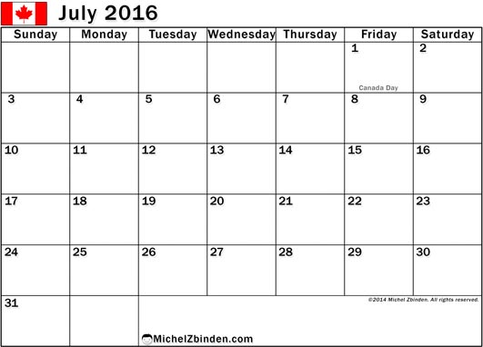 July 2016 Calendar with Holidays, July 2016 Calendar with Holidays Canada, July 2016 Holiday Calendar Canada, July 2016 Canada Holiday Calendar
