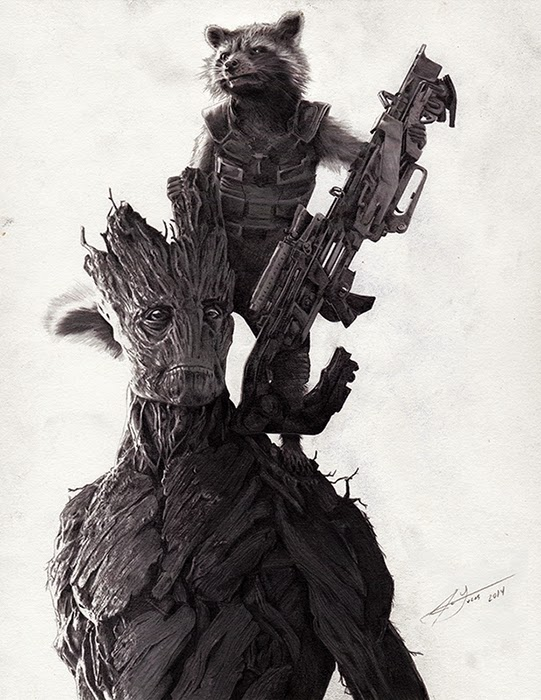 04-Rocket-Groot-Guardians-of-the-Galaxy-Julio-Lucas-Experimenting-with-Photo-Realistic-Drawings-www-designstack-co