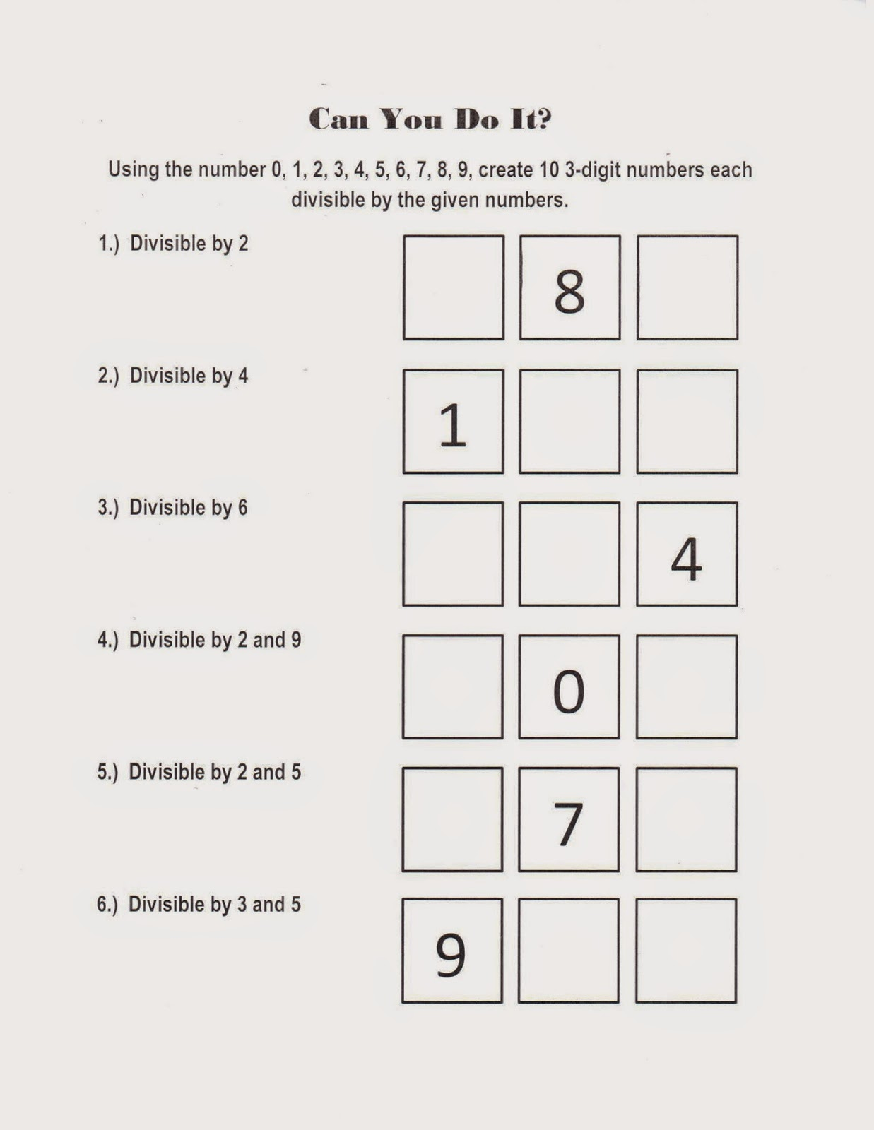 Mrs. White's 6th Grade Math Blog: DIVISIBILITY RULES CHALLENGE