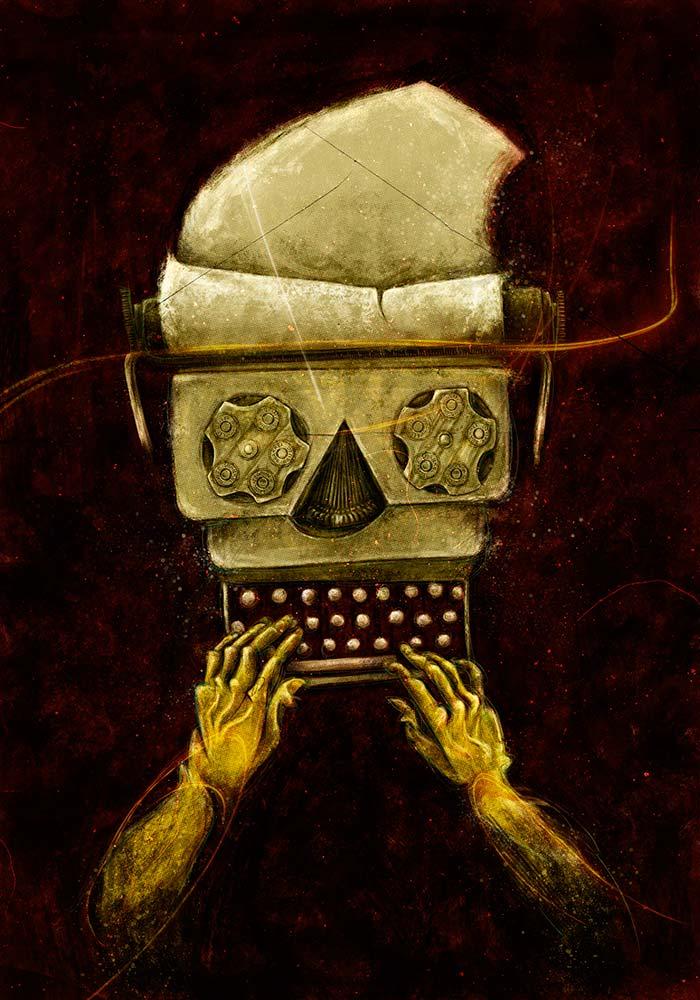 Letras negras. Ilustración por © Hache Holguín