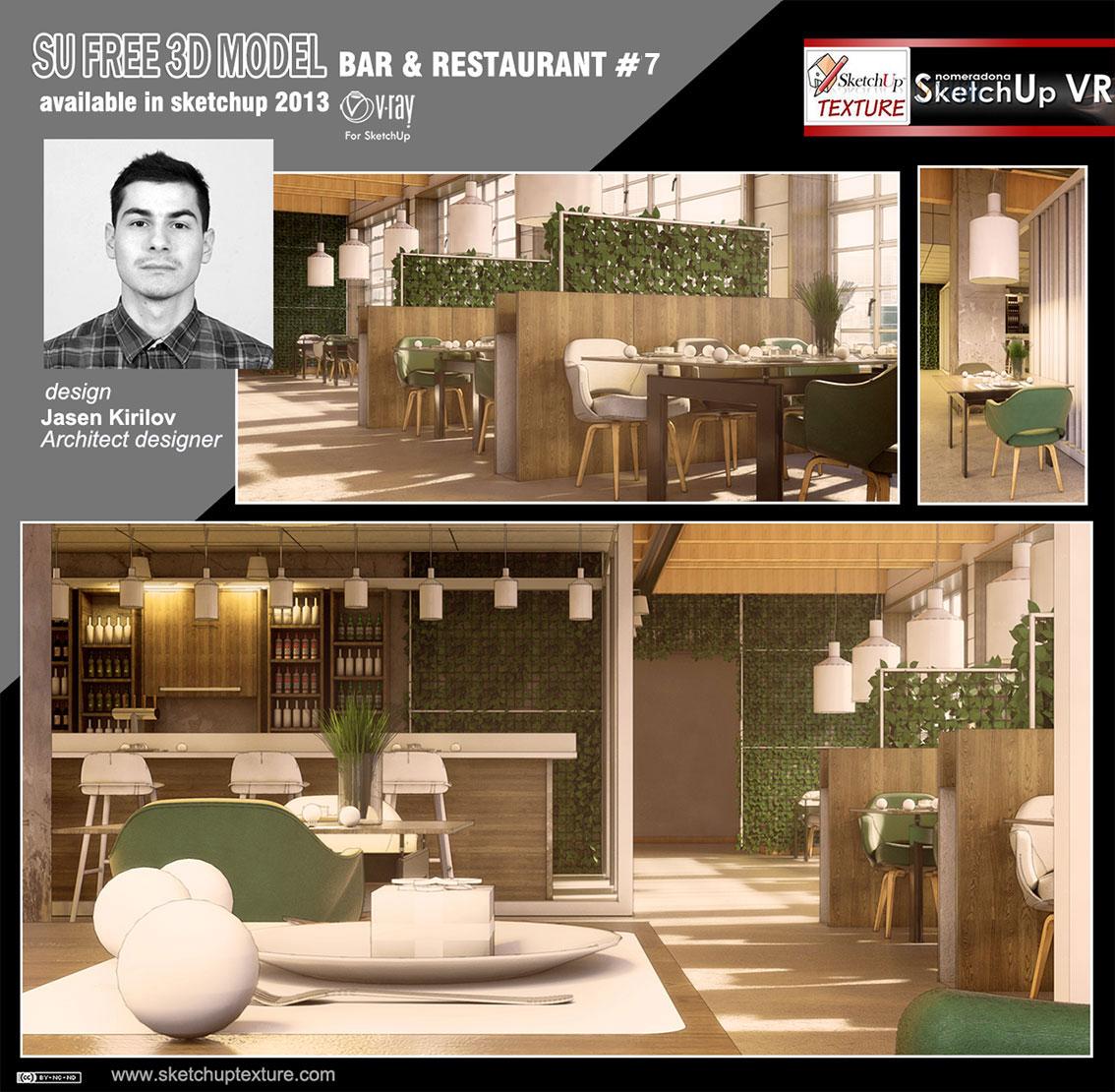 Free Sketchup 3d Model Modern Bar Restaurant 7 Vray Sketchup TUT