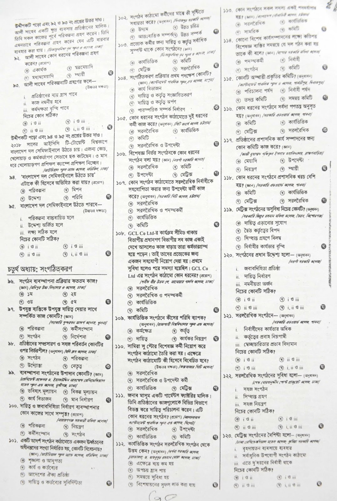 hsc HSC Business Organization & Management 2nd Paper suggestion, exam question paper, model question, mcq question, question pattern, preparation for dhaka board, all boards