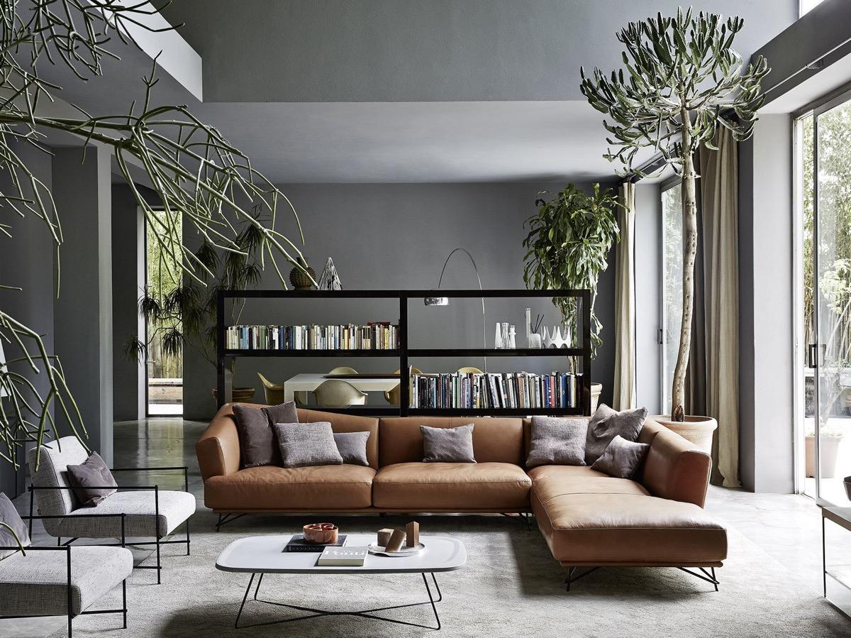 Кімната з коричневими диванами